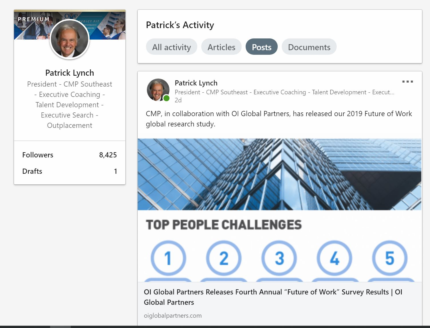 2019 LinkedIn - Patrick Lynch Profile 2